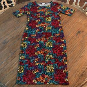 LuLaRoe S Julia dress- colorful print/black swirl